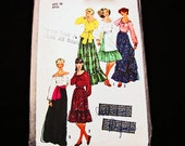 1970s Boho Peasant Blouse Maxi Skirt Pattern Misses size 10 Vintage Sewing Pattern Ruffle Maxi Skirt with Sash, Off Shoulder Top, Apron