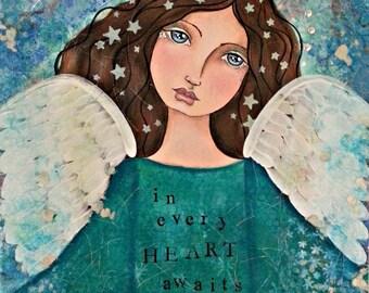 Angel, Gabrielle, Fine Art, Giclee Print of Original Mixed Media Painting, Fantasy Art, Whimsical Art, Angel Art, Wall Decor, Nursery Decor