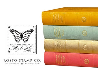 From the Library of Stamp - Butterfly Book Stamp - Monarch Stamp - Butterfly Bookplate