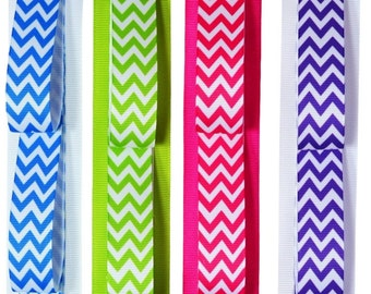 HEADBAND HOLDER Wall Hanging Chevron Print Ribbon Design