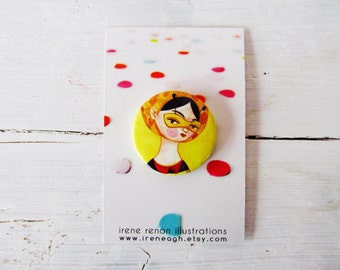 Miss bee pin, yellow honey button brooch