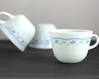 Vintage Pyrex Milk Glass Morning Blue Mugs