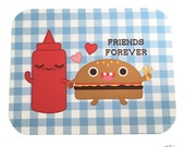 """Ketchup and Hamburger """"Friends Forever"""" Card (blank inside)"""