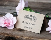 Custom Tandem Bicycle Wedding Place Card - Tented Table Setting Number - Escort - Antique Vintage - Built for Two - Menu - Program