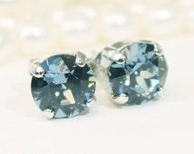Navy Blue Stud Earrings,Swarovski Ctystal Denim Blue Studs Navy Blue single Stone 8mm studs,Navy Blue post earrings,studs,Silver, BREEZE,SE1
