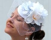 Bridal fascinator white netting veil felt tiara wedding hat PARK WEDDING
