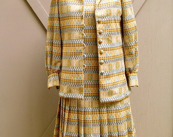 60s vintage Mod Abstract Patterned Drop Waist Dress with matching Jacket