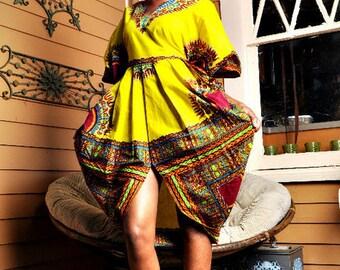 Dashiki Tribal Scalloped Flora Dress