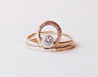 Moissanite You Are My Sun and Moon ring | Bridal Set.