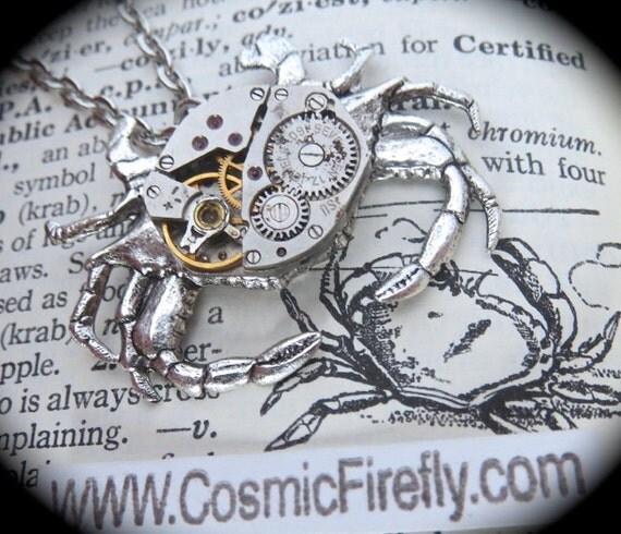 Steampunk Necklace Silver Crab Necklace Vintage Watch Movement Upcycled Jewelry Gothic Victorian Style Woman's Steampunk Gifts For Her New