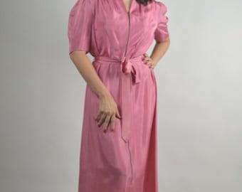 Vintage Lingerie, 40s Lingerie, Blush Dressing Robe, 40s Lounge Wear, Pink Robe,  Hollywood Glamour, Slip Dress,