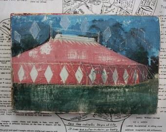 Circus, Tent, Diamonds, 4 x 6, Original Mixed Media, Miniature Art, Red, Carnival, Side Show, Wall Art,
