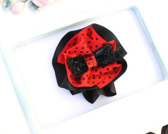 Clearance Sale Red and Black Polka Dot Sparkle Hair Clip Rosette
