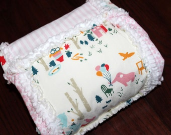 Baby Girl Organic Blanket, Rag Quilt, Pink and Aqua Blue, Cream, White, Woodland Party, Animals, Elephants, Owls, Cotton