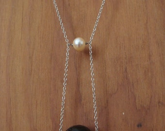 Pearl & Tourmalated Quartz Sphere Necklace