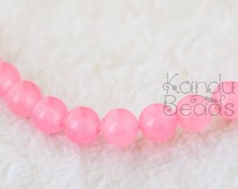 Dyed Pink Quartz  Imitation Rose Quartz round beads 6mm