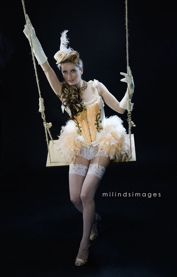 OLYMPIAN Gold White Circus Overbust Corset Burlesque Costume 1920s Great Gatsby dress