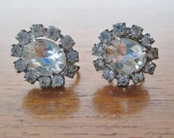 Vintage Floral Screwback Earrings, Oval Sunburst Shape, 1960s Earrings, Clip Ons, Unpierced Ears, Clear Glass, Clear Crystal, Flower Earring