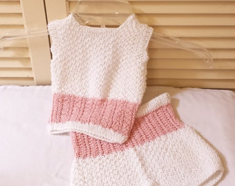 Knitted Newborn Set / White And Rose Pink / Baby Size 0 to 3 Month Girls 2pc Hand Knitted Bamboo Blend Outfit/ Knit Top And Shorts