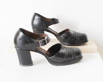 70s leather platform shoes. platform Mary Janes. 70s black platforms - eur 37 us 6.5 uk 4