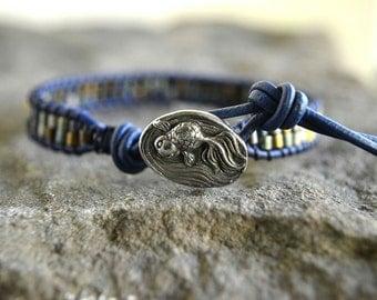 Navy Koi Leather Wrap Bracelet
