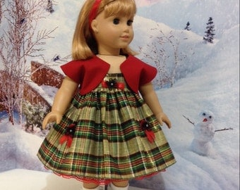 "Reduction BUTTONS AND BOWS"" Christmas Eve dress fits American Girl or other 18"" dolls  Kit, Ruthie, Molly,"