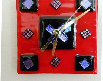 Off to the Races Fused Glass Wall or Desk Clock, Original Art Piece, CG4