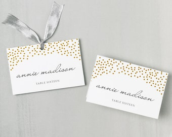 Printable Place Card Template | INSTANT DOWNLOAD | Gold Dots | Escort Card | Editable Colors | Mac or PC | Word & Pages | Flat or Folded