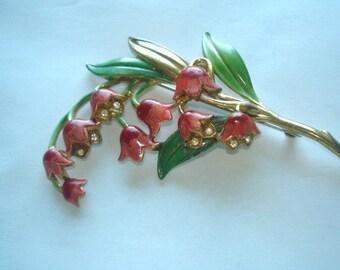Lily of Valley Flower Rhinestone Multi Tone Brooch