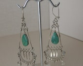 "3"" Silver Dangling Turquoise Earrings. Blue Green Stone Kidney Hook Wire Earrings. Bohemian Style Dangling Earrings"