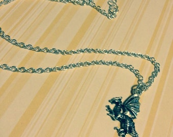 "ONE DOLLAR SALE - Necklace - Antique Silver Dragon - ""Winter is Coming"""