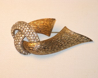Vintage Ledo Abstract Gold Tone Rhinestone Brooch Pin (B-1-3)