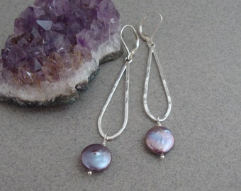 Grey Coin Pearl and Sterling Silver Earrings, Lightweight Dangle Earrings