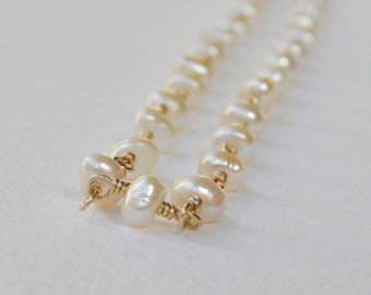 Small Nugget Pearl Necklace - Gold Filled Beaded Necklace Beadwork Necklace Rosary Necklace White Nugget Pearl strand