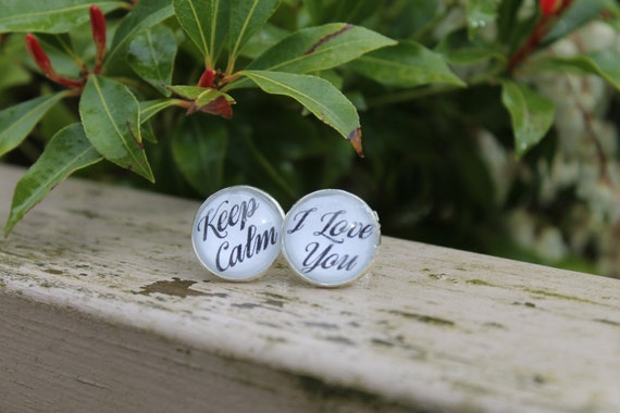 Cufflinks For Groom, Encouragement Gift, Wedding Cold Feet, Keep Calm, I Love You, Brides Gift to Groom, From the Bride, Custom Cufflinks