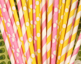 Paper Straws, 25 Pink Lemonade Party Straws, Lemonade Stand, Cupcake Stand, Lemonade Party,  Baby Shower, Pink Lemonade Party, Birthday