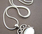 Vintage Sterling Swivel Pendant - Victorian Double Sided Mother of Pearl Necklace