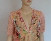 Art to wear Boho Chic Romantic Hand Knitted Embroidered Jacket - Textile Collage -Wearable Art / Size L - XL