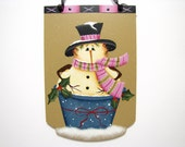 Snowman in a Bucket Sign, Handpainted, Home Decor, Wall Art