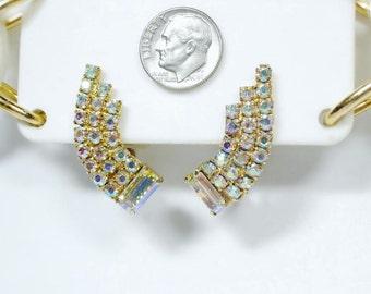 Vintage Golden AB Rhinestone Ear Hugger Clip Earrings HIGH QUAILTY