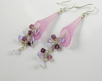 Violet Lucite Trumpet Flower Dangle Earrings