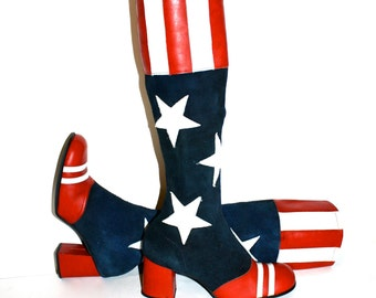 SBICCA Vintage Suede and Leather AMERICA Boots Stars Stripes Go Go Size 6.5 - AUTHENTIC -