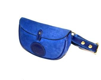 FENDI Vintage Belt Bag Blue Suede Leather Bum Fanny Pack - AUTHENTIC -
