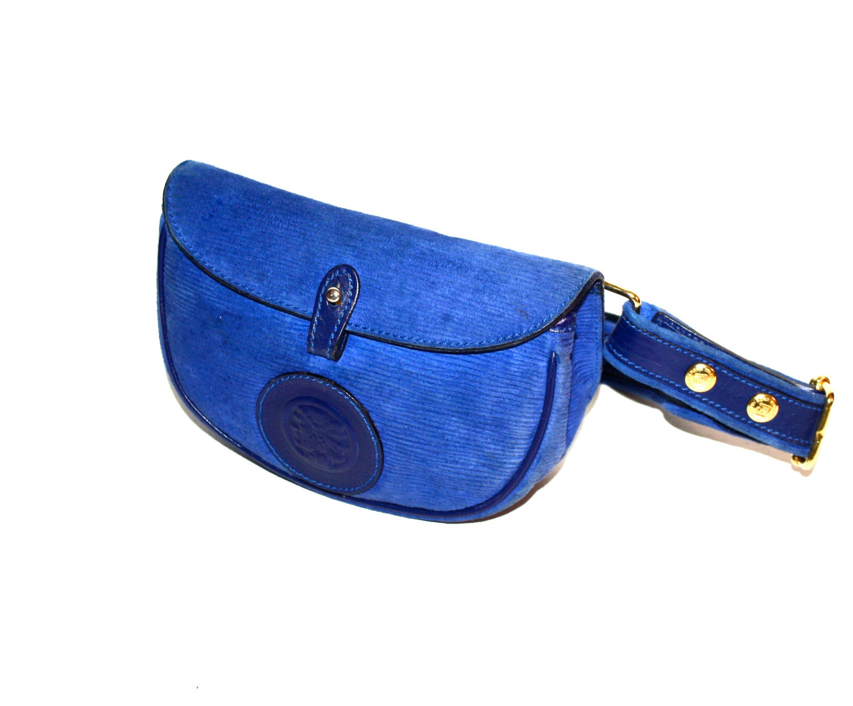 Fendi Vintage Belt Bag Blue Suede Leather Bum Fanny Pack