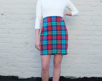 Vintage Ralph Lauren Plaid 1990's Cotton Stretch High Waisted Pencil Mini Skirt M