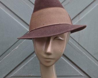 Vintage 1950's TOWNCRAFT 4X Chocolate Brown Felt Fedora Hat - 7 1/4