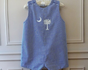 Boy's Traditional  Romper Royal Gingham Seersucker Print with Palmetto Crescent Moon Embroidery