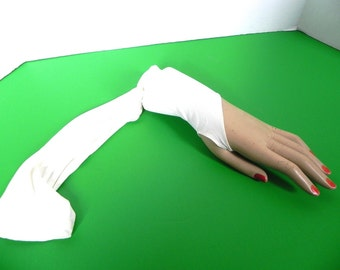 Vintage Gloves off white 40s 50s Fingerless Stirrup Gloves Elbow Length - on sale