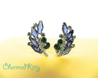 Vintage Earrings 40s blue and green Rhinestone Clips Gorgeous - on sale