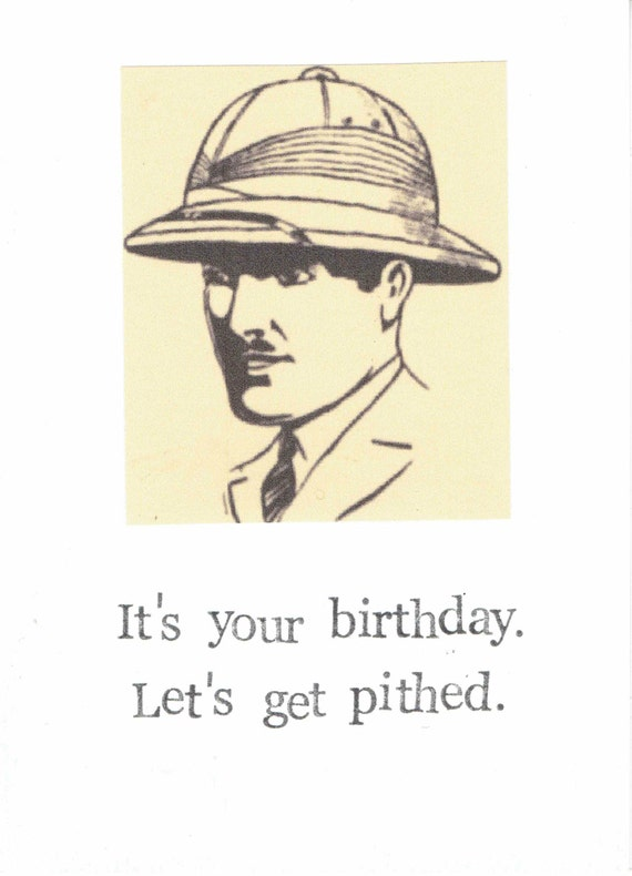 let's get pithed birthday card funny vintage pun humor, Birthday card
